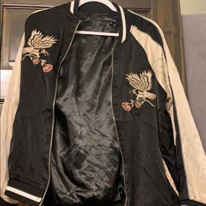 Kendall & Kylie Black and Tan bomber jacket